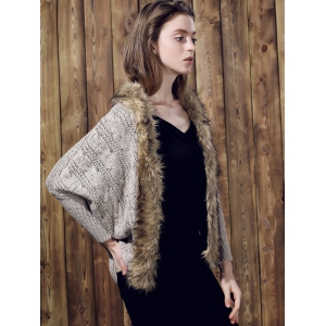 Casual Faux Fur Spliced Long Sleeve Knitted Thick Cardigan For Women -