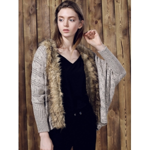 Casual Faux Fur Spliced Long Sleeve Knitted Thick Cardigan For Women - KHAKI ONE SIZE(FIT SIZE XS TO M)