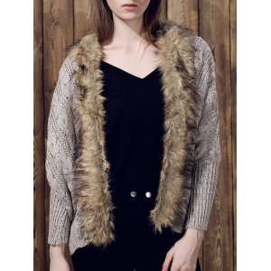Casual Faux Fur Spliced Long Sleeve Knitted Thick Cardigan For Women