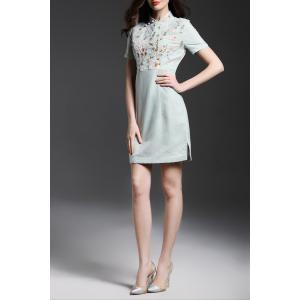 Mandarin Collar Floral Embroidered Bodycon Dress -