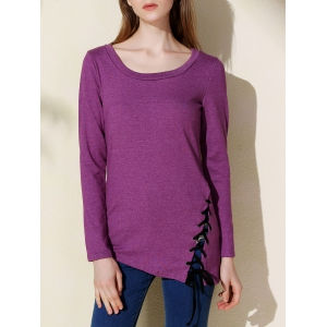 Stylish Women's Solid Color Scoop Neck Long Sleeve T-Shirt