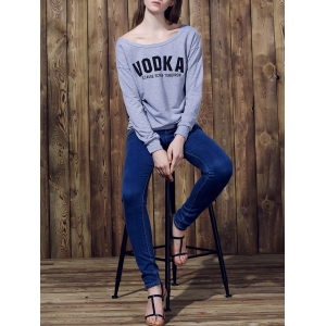 Stylish Letter Printed Long Sleeve Loose Pullover Sweatshirt For Women