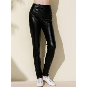 Chic Elastic Waist Black Lace-Up Pants For Women