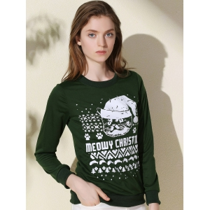 Fashionable Round Collar Letter and Cat Printed Pullover Christmas Sweatshirt For Women - GREEN L