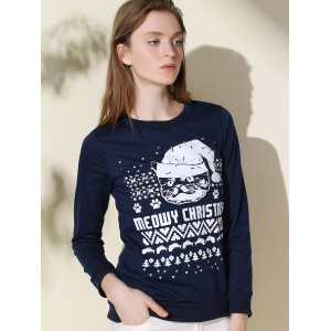 Fashionable Round Collar Letter and Cat Printed Pullover Christmas Sweatshirt For Women -