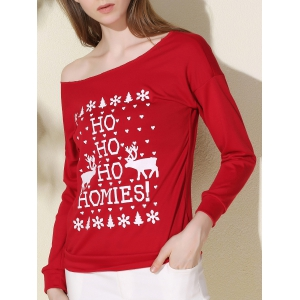 Stylish Scoop Collar Long Sleeve Deer and Snowflake Print Women's Christmas Sweatshirt