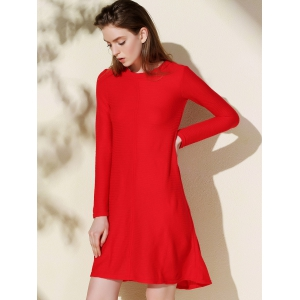 Casual Round Collar Long Sleeve Swing Knitted Dress - RED S