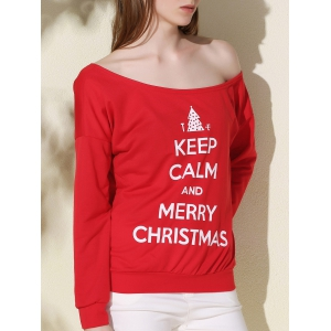 Chic One-Shoulder Long Sleeve Letter Print Women's Christmas Sweatshirt
