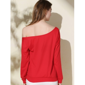 Chic One-Shoulder Long Sleeve Letter Print Women's Christmas Sweatshirt - RED S