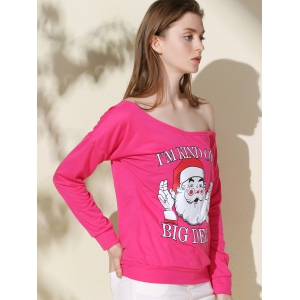 Chic One-Shoulder Long Sleeve Santa Claus Print Women's Christmas Sweatshirt - ROSE XL