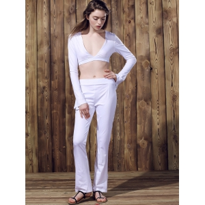 Sexy Low-Cut Long Sleeve Crop Top and Pants Suit For Women - WHITE S