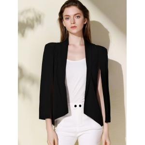 Shawl Collar Long Sleeve Solid Color Cape Blazer - BLACK M