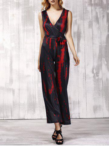 Plunging Neck Sleeveless Printed Tie Belt Jumpsuit