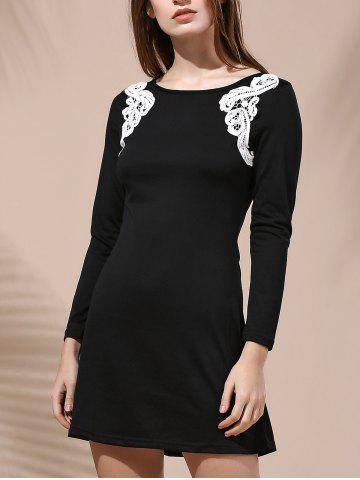 New Stylish Round Collar Long Sleeve Patch Lace Design Dress For Women BLACK S
