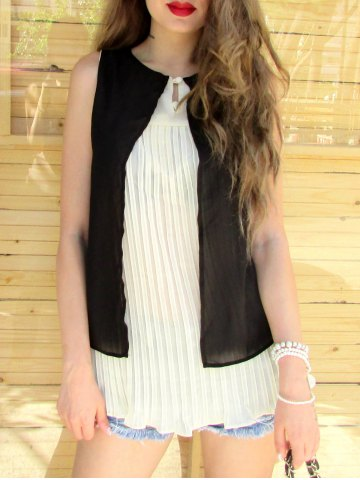 Chic Stylish Scoop Neck Sleeveless Double Layered Blouse For Women BLACK S