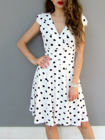 Cheap Sexy Career High Waist Short Sleeve Polka Dot Skater Dress WHITE L