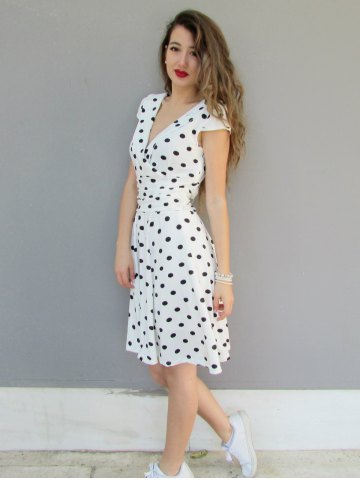 Sexy Career High Waist Short Sleeve Polka Dot Skater Dress - WHITE 2XL