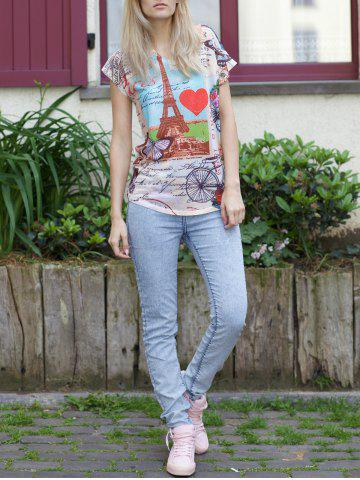 Fancy Casual Scoop Neck Tower Print Short Sleeve T-Shirt For Women WHITE ONE SIZE(FIT SIZE XS TO M)