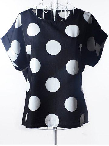 Best Simple Plus Size Scoop Neck Polka Dot Pattern Short Sleeves Blouse For Women BLACK S