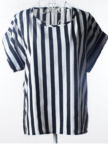 Latest Simple Plus Size Scoop Neck Striped Blouse For Women STRIPE L