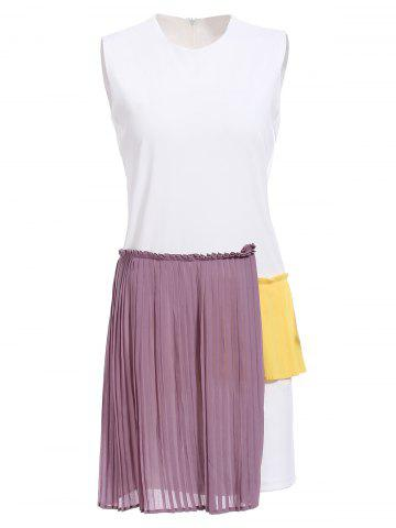 Online Stylish Round Neck Sleeveless Hit Color Pleated Dress For Women
