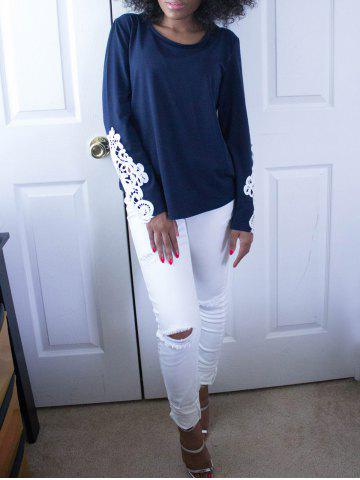 Buy Stylish Scoop Neck Long Sleeve Hollow Out Slimming Women's T-Shirt - M BLUE Mobile