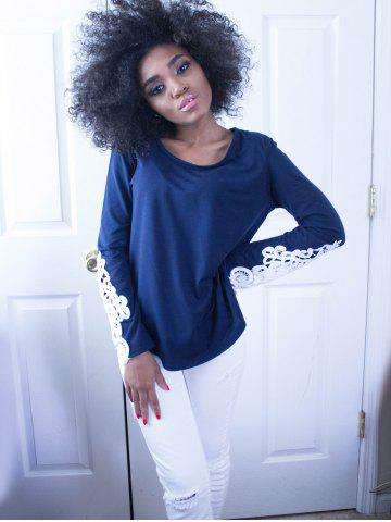 Unique Stylish Scoop Neck Long Sleeve Hollow Out Slimming Women's T-Shirt - M BLUE Mobile