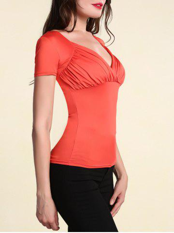 Outfits Stylish Women's Pure Color V Neck Short Sleeve T-Shirt - XL ORANGE RED Mobile