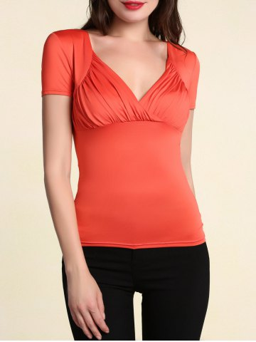 Chic Stylish Women's Pure Color V Neck Short Sleeve T-Shirt - XL ORANGE RED Mobile