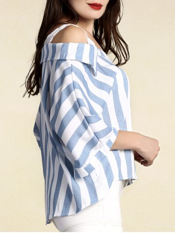 Outfits Stylish Women's Striped 3/4 Sleeve Cut Out Blouse - XL BLUE Mobile