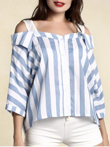 Chic Stylish Women's Striped 3/4 Sleeve Cut Out Blouse BLUE XL