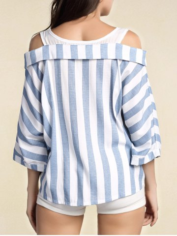 Trendy Stylish Women's Striped 3/4 Sleeve Cut Out Blouse - 2XL BLUE Mobile