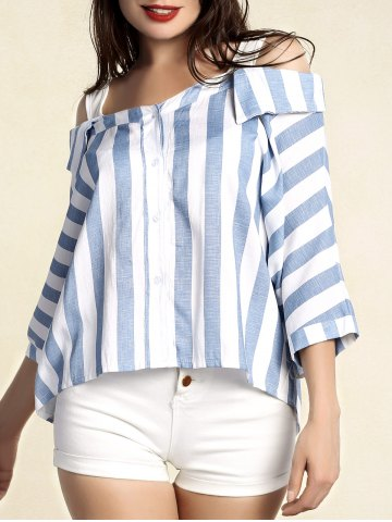 Outfits Stylish Women's Striped 3/4 Sleeve Cut Out Blouse - 2XL BLUE Mobile