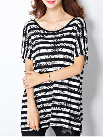 Chic Trendy Scoop Neck Striped Letter Print Short Sleeve Women's Tee