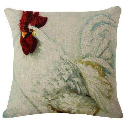Outfits Chic Rooster Oil Painting Pattern Square Shape Flax Pillowcase (Without Pillow Inner)