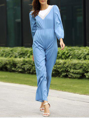 Round Neck Puff Sleeve Color Block Jumpsuit For Women