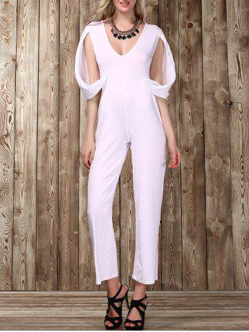 Plunging Neckline Split Sleeve Solid Color Jumpsuit For Women