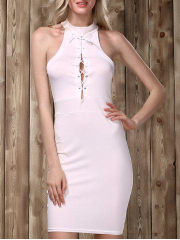 Affordable Stylish Stand Collar Sleeveless Lace-Up Bodycon Dress For Women