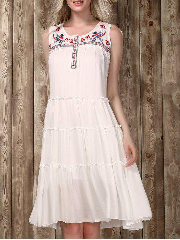 Outfits Ethnic Scoop Neck Sleeveless Embroidered Flare Dress For Women