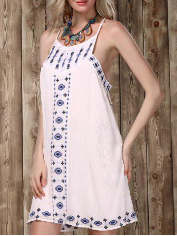 Cheap Stylish Strappy Embroidered Racerback Dress For Women