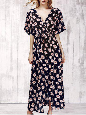 Shop Stylish Plunging Neck Short Sleeve Floral Print Maxi Dress For Women