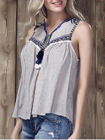 Chic Ethnic V-Neck Embroidered Striped Top For Women