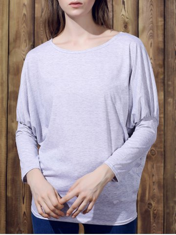 Cheap Stylish Batwing Sleeve Solid Color Loose-Fitting Women's T-Shirt LIGHT GRAY L