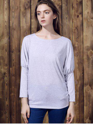 New Stylish Batwing Sleeve Solid Color Loose-Fitting Women's T-Shirt - XL LIGHT GRAY Mobile