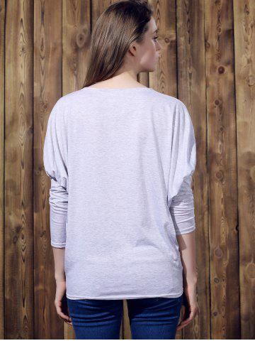 Store Stylish Batwing Sleeve Solid Color Loose-Fitting Women's T-Shirt - XL LIGHT GRAY Mobile