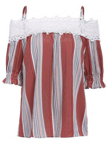 Affordable Sweet Spaghetti Strap Striped Color Block Women's Blouse