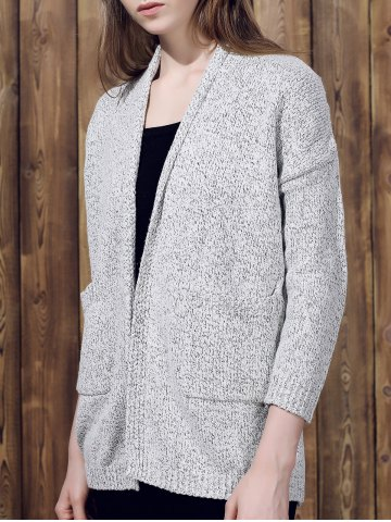 Outfit Collarless Long Sleeve Pocket Design Knit Cardigan GRAY M