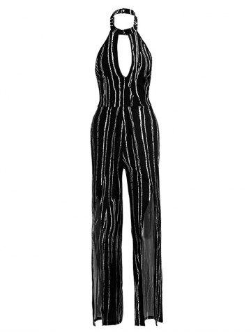 Fashion Sleeveless Striped High Slit Backless Jumpsuit BLACK M