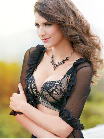 Online Trendy Spaghetti Strap Push Up Floral Lace Bra Set For Women