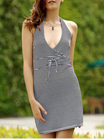 Fashion Leisure Style Halter Striped Backless Women's Mini Dress